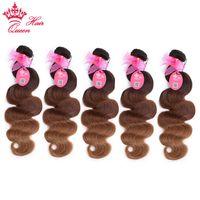 bakire saç şirketleri toptan satış-Kraliçe Saç Şirketi Ombre Renk Brezilyalı Saç Vücut Dalga Demetleri T2 / 6/27 Virgin İnsan Saç Dokuma 5 adet / grup DHL Ücretsiz Kargo