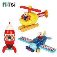 Wholesale wooden airplanes - N-Tsi Wooden Magnetic Rocket Airplane Helicopter Assembly Puzzle Block Kit Kids PreSchool Educational Toys for Children Boy Gift