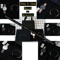 женские наручные часы оптовых-Лучшая версия сочетание 28 мм 32 мм женские часы + женщины браслет + черный ящик + черный мешок