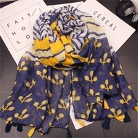 Wholesale cotton circle scarf - Lady Fashion Spring Scarf Cotton And Linen Rectangle Circle Scarves Print Small Flowers Geometry Women Seaside Travel Sunscreen Shawl 13ly h