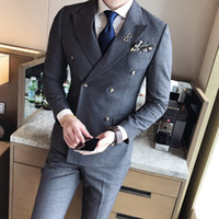Wholesale mens grey skinny suit - Double Breasted Suits Mens 2017 British Style Suits Mens Striped Terno Slim Fit Blue Social Dress Business Vintage Grey