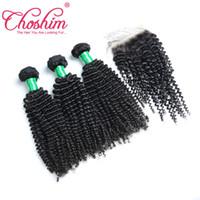 32 inç sapık kıvırcık saç toptan satış-Choshim Kinky Kıvırcık ipek taban kapatma saç demetleri ile 5 adet lot Remy Hint İnsan Saç kapatma ile Örgü