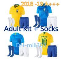 Wholesale brazil football kits - 2018 World Cup Soccer Jersey kit +socks NEYMAR JR Brazil shirts 18 19 P.COUTINHO G.JESUS PELE MARCELO RONALDINHO new Brazil Football Jerseys