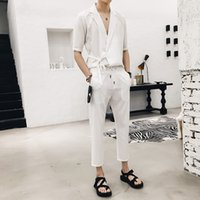 Wholesale sexy male japanese - Side Close Japanese Stylish Shirt Suit Set Casual Sexy Shirt Set Ankle Length Pant Solid Fashion Trend Sexy Male Style