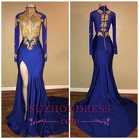 Wholesale Winter White Girls Dress - 2018 African Arabic Gold Appliques Sexy Prom Dresses Mermaid Vintage Long Sleeves High Thigh Split Floor Length Black Girls Evening Gowns