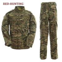 traje de combate táctico al por mayor-Uniforme de camuflaje Conjunto Coat + Pant Camo Paintball Hunting Clothing Tipo ACU Tactical Combat Cargo BDU Suit