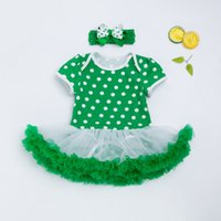 Wholesale floral bow shorts children for sale - Group buy Baby Clothing New Fashion Clover Romper Dress Headband Lace Green Girls Party Dress Summer Style Clothes St Patrick S Day Children Outfits