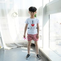 Wholesale Love Cartoon Painting - 2PCS Baby Boy Clothing White T-shirt With Painting I Love Cartoon Finger Pure Cotton Striped Short Pant Sport Set For Children
