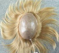 Wholesale blonde toupee resale online - Full Skin Men Toupee Hot Blonde Color Straight European Hair Pieces Trump Style Blonde Toupee for Men