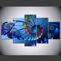 Wholesale peacock oil painting modern - DAFENJINGMO ARTS 5pieces Hot Modern Blue Peacock Oil Painting Canvas Print Landscape Abstract Art Wall for Home Decoration