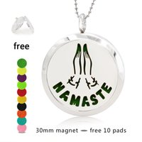 Wholesale namaste pendant resale online - Hand Stamped NAMASTE Perfume Necklace mm Magnetic Stainless Steel Essential Oil Diffuser Lockets Pendant Necklace Free Pads