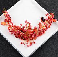 Wholesale cheongsam sequin - Bridal headdress, scarlet, handmade crystal, pearl, hair, earrings, wine set, cheongsam accessories.
