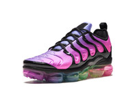 Wholesale blue shark size - 2018 Vapormax TN Plus BE TURE mens running shoes Red Shark Tooth Reverse Sunset TRIPLE BLACK white Grape trainers sports sneakers size 40-45