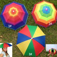 Wholesale polyester hats - 3Colors Foldable Sun Rainbow Umbrella Hat For Adult Children Adjustable Headband Hat Umbrella Hiking Fishing Outdoor Kit ZJ-U01