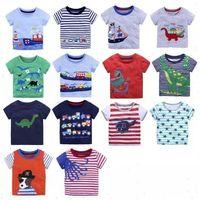 Wholesale cars sails online - Hotsale Kids T shirts Boys Cartoon Tees Children clothing Beach Sailing boat Dinosaur Cars Short sleeve Cotton Stripes Summer M Y B11