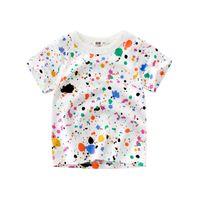 kız bebek kıyafeti tişört tasarımı toptan satış-Tasarlanmış Çocuklar Çocuk Baskı T-shirt Kısa Kollu Pamuk Tee Gömlek Tops Yürüyor Çocuk Bebek Erkek Kız Yaz Tee Giyim