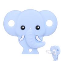 mavi meme uçları toptan satış-Bebek Emzik Sevimli Fil Şekli Kukla Gıda Sınıfı Güvenli Silikon Emzikler Bebek Bite Meme Emzikler Pembe Mavi