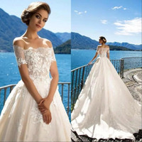 Wholesale boats covers resale online - Elegant Boat Neck Lace A Line Bridal Gowns Wedding Dresses Off The Shoulder Applique Sweep Train Wedding With Button