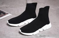 Wholesale denim boots for women - Bale&#78ciaga Sock Boots High Quality Speed Trainer Running Shoes For Men And Women Sports Shoes Speed Stretch-Knit Mid Casual Sneaker