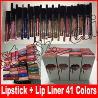 forro para os lábios venda por atacado-LIP KIT liner batom lápis Lipliner Liquid Matte Batom Maquiagem Lip Gloss Make Up 41 cores