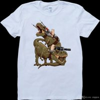 Wholesale dinosaur cat resale online - 2018 Streetwear Short Sleeve Tees Cats Riding T Rex Dinosaurs Funny White Custom Made Men s T Shirt
