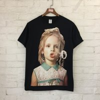 Wholesale L Smoke - 2018 fashion new style High quality cotton round neck short t-shirt Little girl and smoke printing Men and women with money