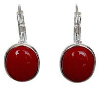 echte rote steine groihandel-Neueste edle Dame handgefertigte 925 Silber rote Koralle Leverback Ohrringe 1 1/10
