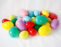 Wholesale Random Chocolate - Free shipping colorful plastic Easter eggs 80x55mm eggshell for luck draw candies chocolates random colors wen5772