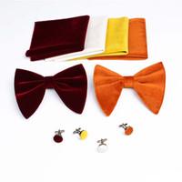 ingrosso gemelli unici-Papillon in velluto TIESET con fazzoletto abbinato e gemelli per papillon nero per matrimonio e festa Set papillon unico in smoking