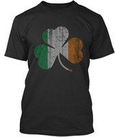 calções irlandeses venda por atacado-Graphic T Shirts Algodão Tripulação Pescoço Irlandês Irlandês Shamrock St Patricks Dia Camisas de Manga Curta Para Homens