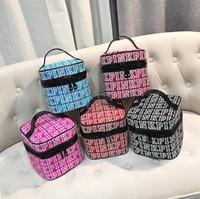 Wholesale Print Bags Wholesale - Pink Letter Cosmetic Bag Letter Print Makeup Bag Women Travel Nylon Make Up Bags Zipper Portable Storage Bag 5 Colors OOA4019