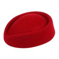 Wholesale black hat base - New Elegant Wool Felt Pillbox Stewardess Air Hostesses Beret Hat Party Base Cap (Red)