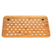 bambú portátil al por mayor-SAMDI Bamboo Laptop Tray Lap Desk Universal Cooling Stand Desktop Reading Board Ventilación de aire para portátil portátil