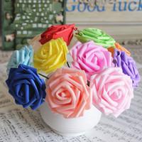 echte künstliche blumen großhandel-Künstliche Blumen Rosen gefälschte Rosen mit Stamm echte DIY Hochzeit Bouquets Mittelstücke Party Baby Dusche Home Dekorationen