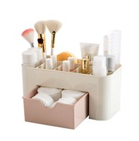 Wholesale makeup drawer storage - Hoomall Plastic Cosmetic Organizer Jewelry Box Office Storage Drawer Desk Makeup Case Brush Box Lipstick Casket For Decorations