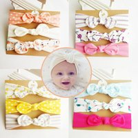 Wholesale small flower designs resale online - Mix Colors Three Pieces Flowers Pattern Small Ears Bow Tie Cloth Headband Sets with Card Package Children s Hairbands Designs a