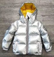 Wholesale children duck down - New Winter Baby Girls Boys coat Top Quality Sliver stripe Down Jackets Children Warm Thickening Down Jackets silver color