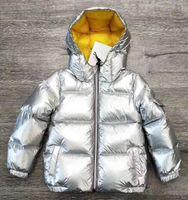 ingrosso neonate inverno giù cappotto-New Winter Neonate maschi cappotto Top Quality Sliver stripe Down Giacche Bambini caldo ispessimento Down Giacche color argento