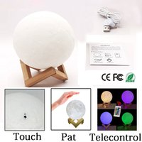 Wholesale Emergency Lamp Rechargeable - 3D LED Night 16colors Magical Moon LED Light Moonlight Desk Lamp USB Rechargeable 3D Light Colors Stepless for Christmas lights or gifts