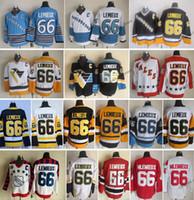 schwarzer patch großhandel-Vintage Pittsburgh Mario Lemieux Hockey Trikots Herren Günstige 66 Mario Lemieux All Star Gelb Schwarz Genäht Hockey Shirts C Patch