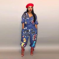 0d35e1d7c4d Summer Sexy Letter Printed Jumpsuit Outfits Women Short Sleeve V-Neck  Jumpsuits Rompers Black Plus Size S-3XL