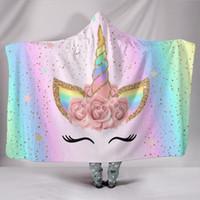 warm rosa großhandel-Unicorn Hooded Blanket Weiche warme Kinder-Cartoon-Decke mit Kapuze Pink Unicorn Sherpa Fleece Kuscheldecke für Kinder 130cm * 150cm