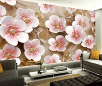 Wholesale flower wallpapers high quality - High Quality Custom Wall Mural Modern Art Wall Painting 3D Stereo Relief Plum Flower Photo Wallpaper Living Room Papel De Parede