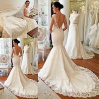 Wholesale wedding dress mermaid cut - Modern White Ivory Lace Mermaid Wedding Dresses 2018 Sexy V Cut Backless V-neck Sweep Train Bridal Wedding Gowns