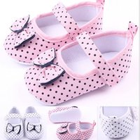 Wholesale shoes first steps - Fashion Dot bow shoes first step neonatal soft soles baby bed shoes baby girl princess shoes shipping