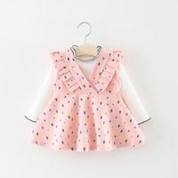 camisa de bebé básica al por mayor-Otoño de manga larga para bebés niños bebés de manga larga camisetas básicas + Rábano imprimir vestidos 2pcs vestido de fiesta de princesa C588