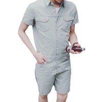 мужской задний карман оптовых-Back Zipper Mens Rompers Summer Fashion Designed Pockets Single Breasted Jumpsuit Cargo Short Pants Casual Party Suits Overalls