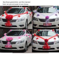 Wholesale Wedding Cars Flowers Set - Fiori bomboniere wedding car flower decoration set red pink purple 40cm flower garland 10pcs pull Artificial flowers