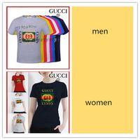 Wholesale famous t shirts designs - 18ss new arrival Mens T Shirt Famous Brand Design Letter graffiti lovers clothes T shirt Fashion Women T Shirt Casual Cotton Tee Top gg