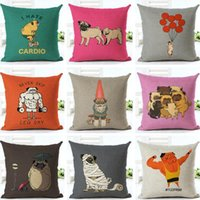 Wholesale pillowcases for kids - New Style Cute Pet Shar Pei Dogs Funny Bulldog Pillow Case Cotton Linen Pillowcase Pillow Covers for Home Bed Sofa Deco Kids 18 *18Inch